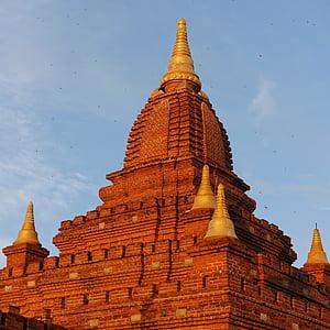 Pagoda, Bagan, Burma, Myanmar, templet, Asia, tegelstenar