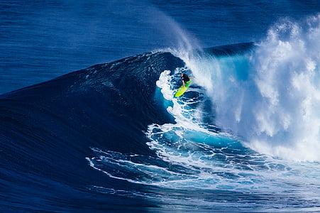 Foto, Mann, Surfen, große, Welle, Ozean, Wasser