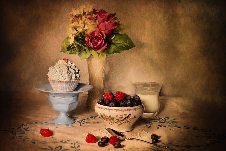 Bodegó, nabius i crema, configuració de taula, fruita, aliments, vermell, frescor