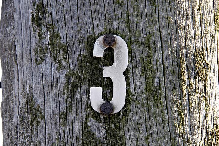 broj tri, tri, drvo, post, Drveni kolac
