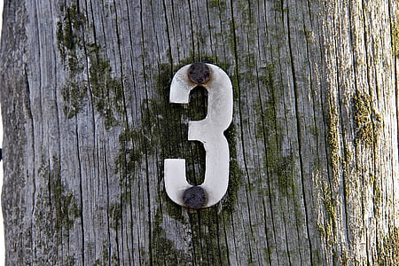 number three, three, wood, post, wooden pole