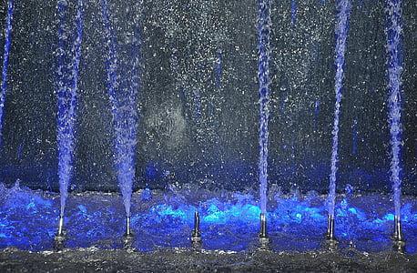 vode, Fontana, osvijetljeni, šarene, voda igre, ubrizgati, mjehurić