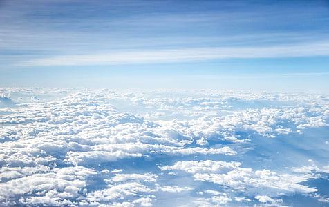 Ilmastointi, ilmapiiri, sininen, sininen taivas, kirkas, pilvien muodostumista, pilvisyys