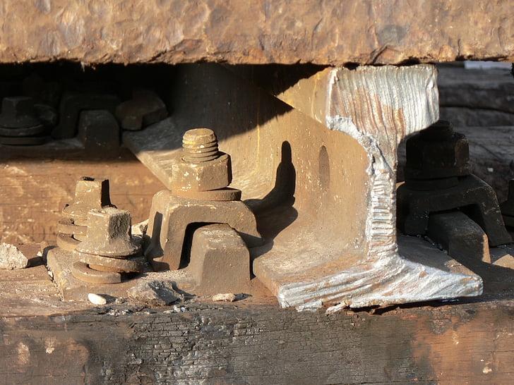 järnväg, stål, skruvar, trä, betong, detalj, Sleeper