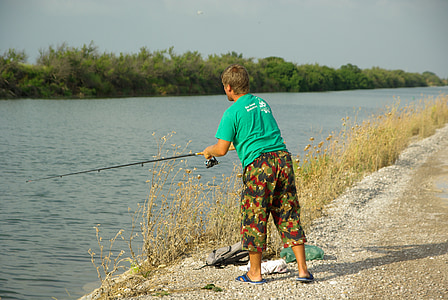 fishing, fisherman, channel, river, lake, outdoors, nature