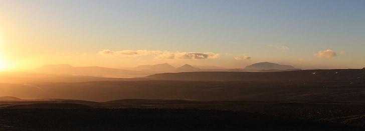 posta de sol, muntanya, panoràmica, cel, de muntanya, d'or, paisatge