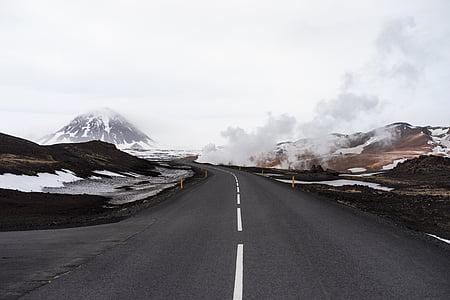 холодної, Гора, дорога, сніг, подорожі, взимку