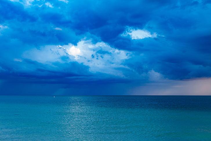 platja, núvols, natura, oceà, Mar, marí, cel