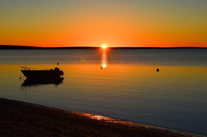 coucher de soleil, calme, paysage, tranquil, paysage marin, Dim, mer