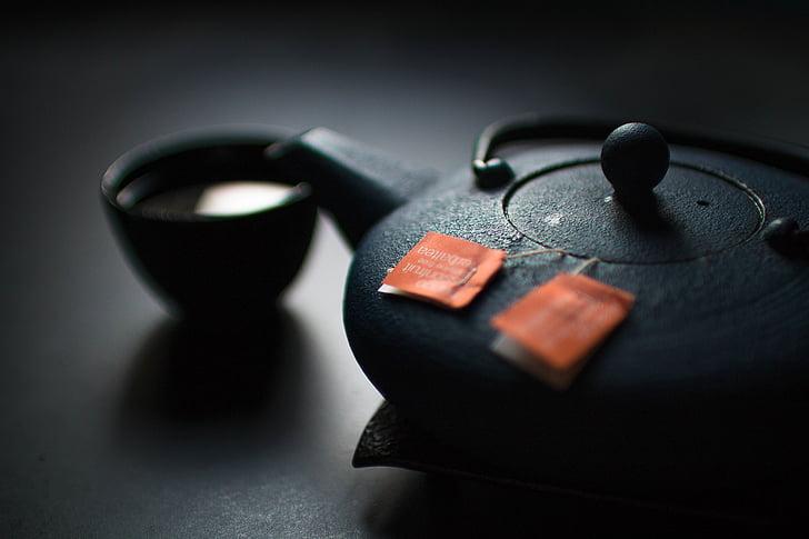 dzēriens, melna, kauss, dzēriens, tēja, kārtiņa, tējas tasīti