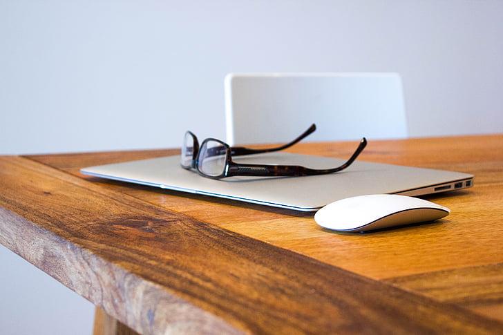 apple, chair, computer, desk, eyewear, furniture, glasses