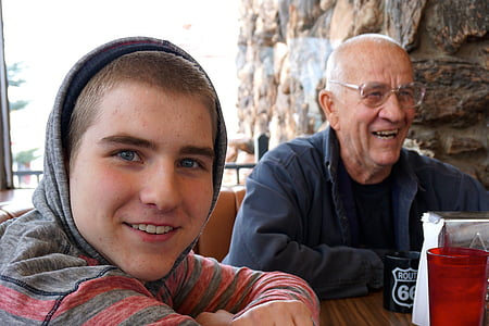 cafe, grandfather, grandson, family, people, persons, joy
