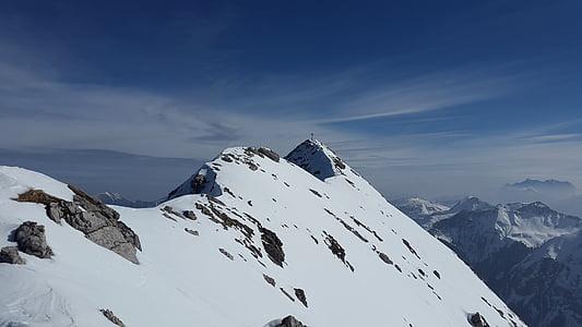 gaishorn, alpint, tannheimer fjell, fjell, Allgäu, toppmøtet, steinete