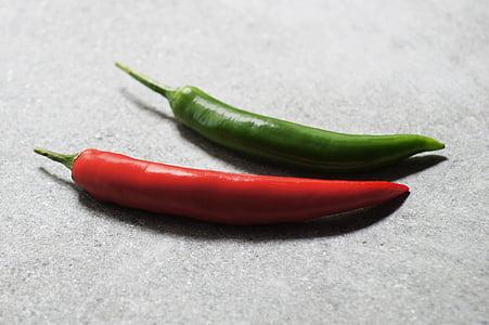 paprika, punane, roheline, äge, söömine, punane pipar, rikkust
