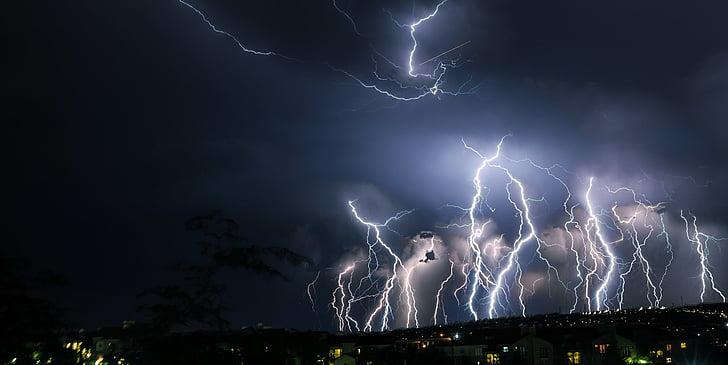 ฟ้าผ่า, พายุ, เวลากลางคืน, ระบบคลาวด์, คืน, พายุฝนฟ้าคะนอง, เรืองแสง