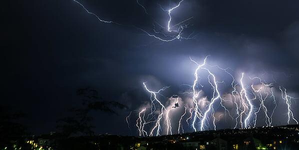 Žaibas, Audra, naktis, Debesis, naktį, Debesuota su pragiedruliais, šviečiantys