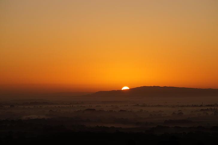 soluppgång, morgon, dimma, solen, Hills, Orange, Sky