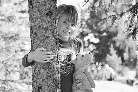 dziecko, Dziewczyna, lasu, Miś, Natura