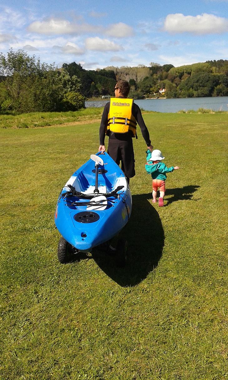 thuyền kayak, hoạt động ngoài trời, trẻ em, cha, vui vẻ, chèo thuyền kayak, giải trí