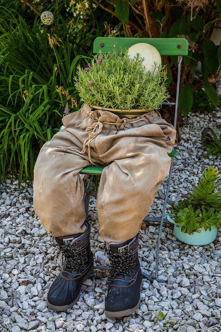 trup, hlače, zelišča, vrt