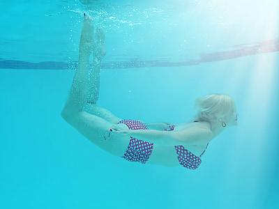 woman underwater, pool, summer, swimmer, underwater, fun, fitness