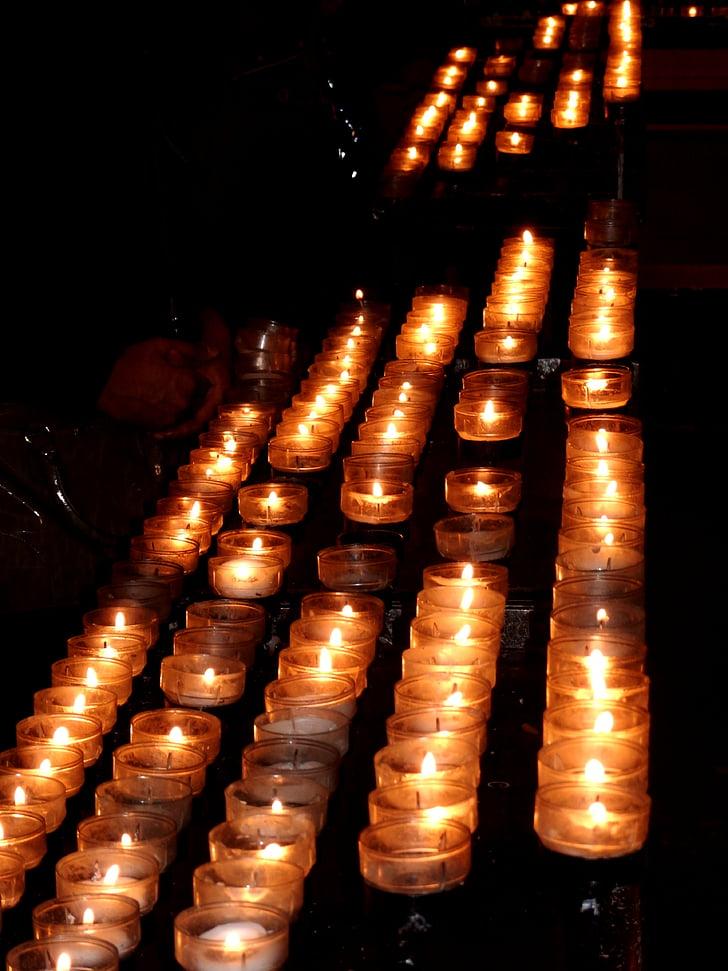Kastil Cologne, lilin, Gereja, Cologne di rhine, berdoa, romantis, cahaya