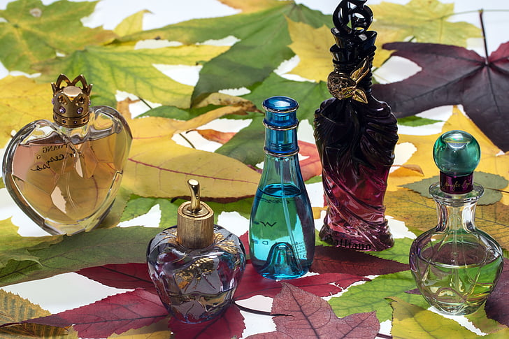 perfumes, perfume bottles, still life, bottle, color, blue bottle, leaves