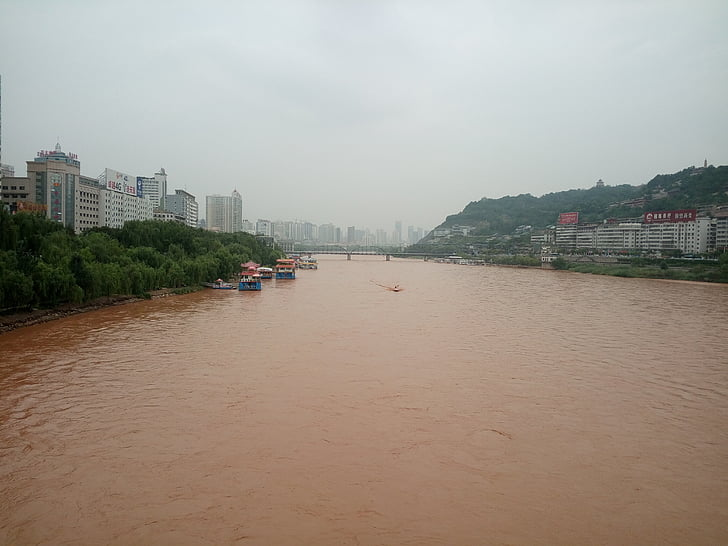 Kina, provinsen Gansu, gula floden, nautiska fartyg, floden, Asia, vatten