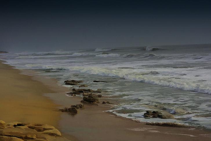 orkaan, Beach, Ocean, lained, liiv, mererand, vee