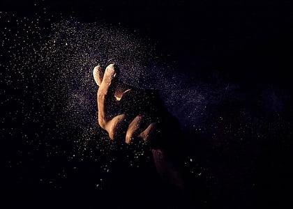 human, hand, painting, dark, night, sand, dust