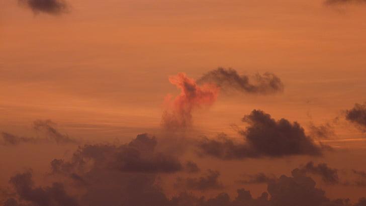puesta de sol, morgenrot, cielo, nubes, salida del sol, rojo