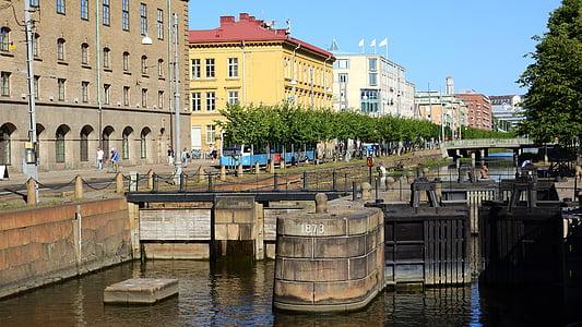 Göteborg, Street, centrum, Canal, Sverige, veckodag
