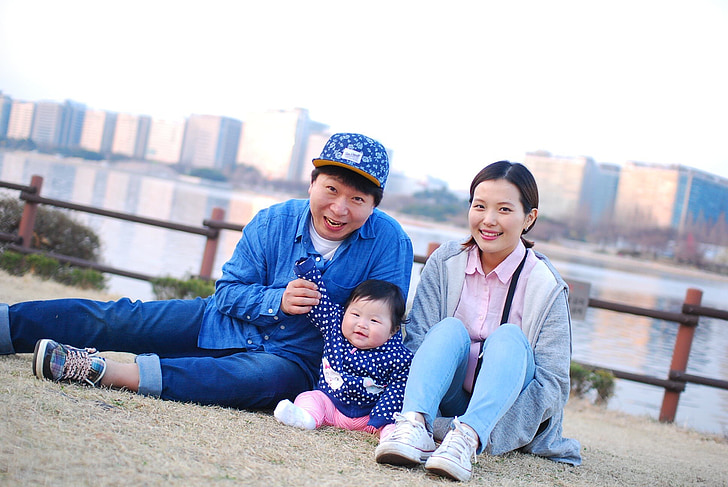 familie, koreansk, baby, smil, forældre, barn