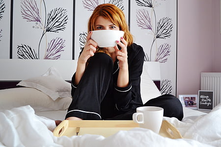 girl in bed, breakfast in bed, girl with cereal bowl, attractive, bed, bedclothes, bedroom