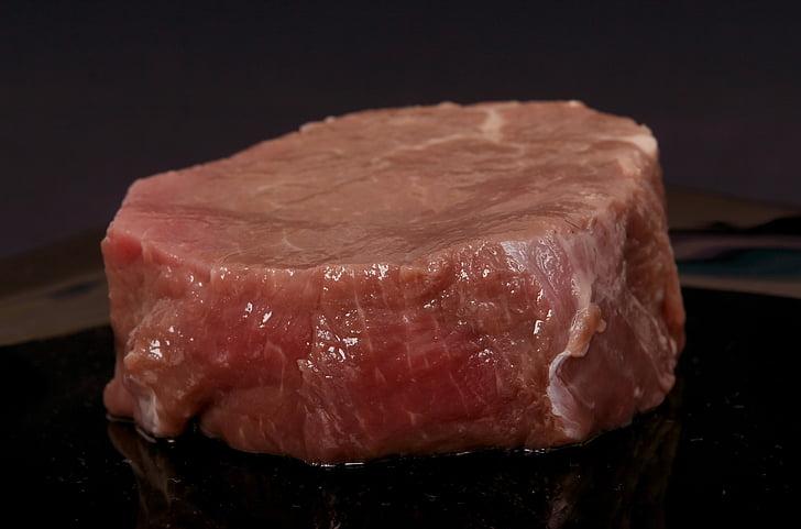 carn de boví, negre, sang, sagnant, càtering, colors, cuina