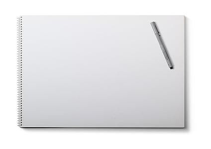 Bloc de dibujo, fondo blanco, pluma, en blanco, almohadilla, negocios, papel