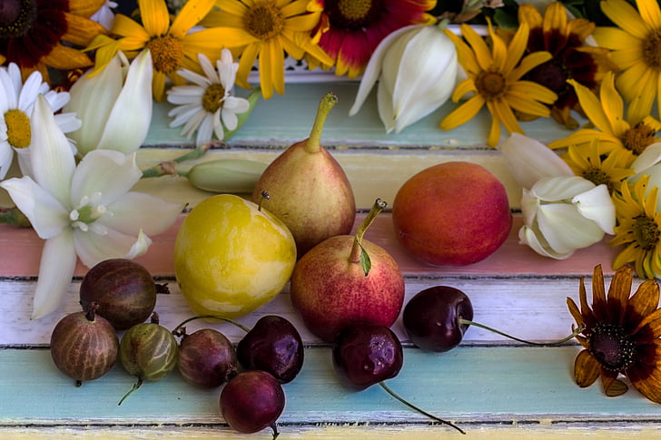 bodegons, fruites, fruita, peres, flors