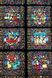 Francija, Paris, baznīca, detalizēti, interjers, krusts, reliģija