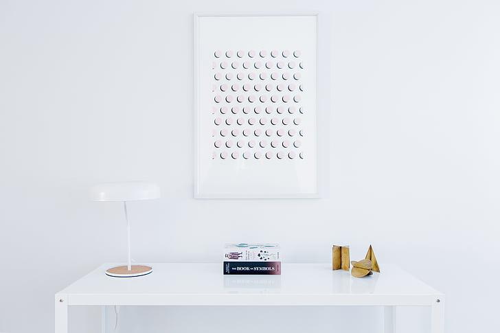 balta, tabula, kadri, lukturis, estētiskā, iekštelpās, iekšējā telpa