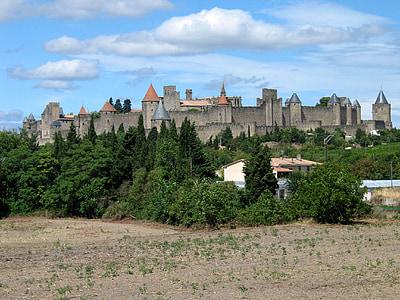 Замок, Carcassonne, Франція, фортеця, Архітектура, середньовіччя, Стіна