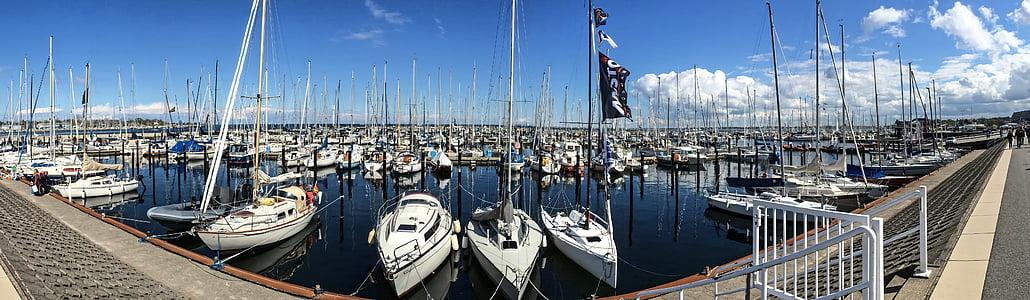 Marina, port de voile, bateaux à voile, yachts à voile, Schilksee, Kiel, Panorama