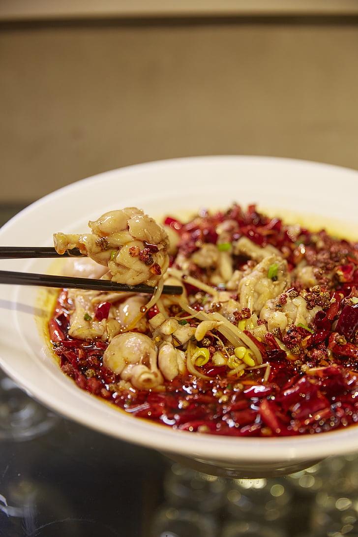 中文, 水煮的牛蛙, 香辣, 蔬菜, 食品, 特价, 美味