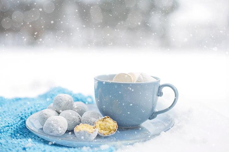 karstā šokolāde, mājīgs, ziemas, deserts, silts, sniega, krūze