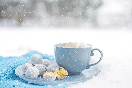 핫 초콜릿, 아늑한, 겨울, 디저트, 따뜻한, 눈, 머그잔