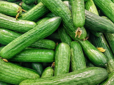 Ogórki, zielony, jedzenie, zdrowe, organiczne, warzyw, świeże warzywa