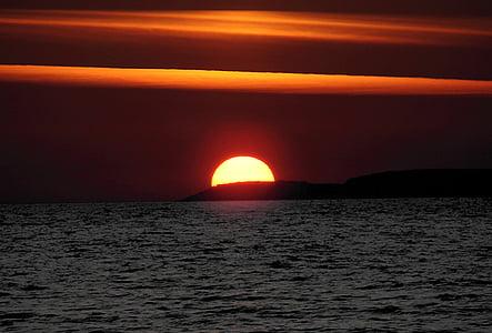 sole, tramonto, Abendstimmung, mare, acqua, nuvole, natura