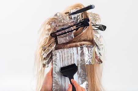 cabell, color, per pintar, raspall, blanc, dona, l'atenció