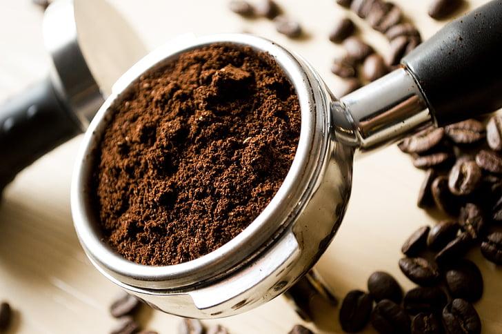 Crna, tlo, kava, kuhinja, mljevene kave, jutarnju kavu, mljevene kave