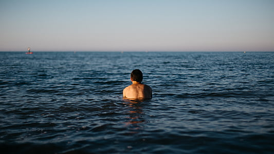 beach, man, ocean, outdoors, person, sea, swimming