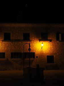 fontän, På natten, belysta, natt fotografi, arkitektur, lampor, Lampans glöd